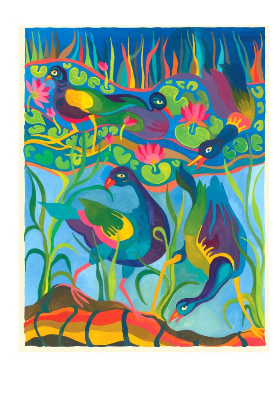Card of Purple Gallinules