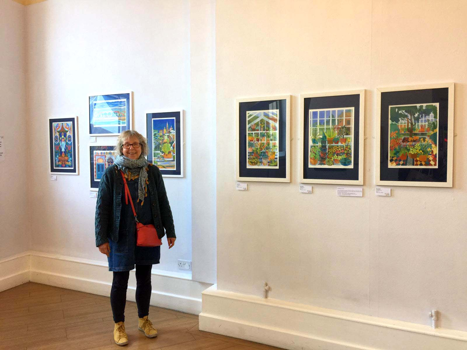 Photo of Helen with work at the Socke Gallery