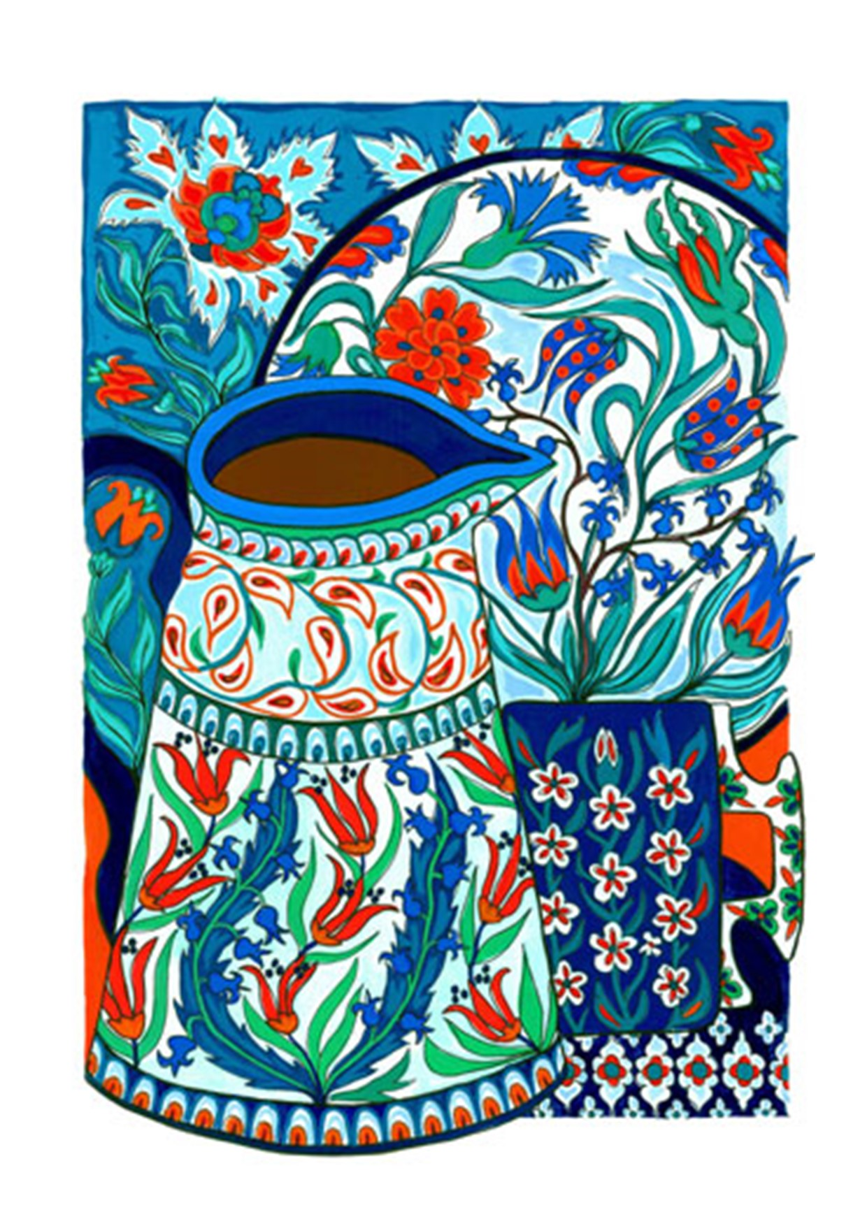 Painting of Iznik pottery