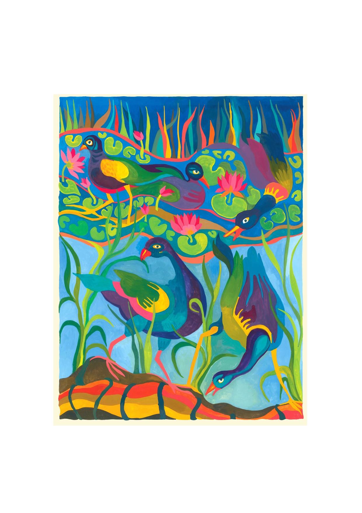 Painting of Purple Gallinules