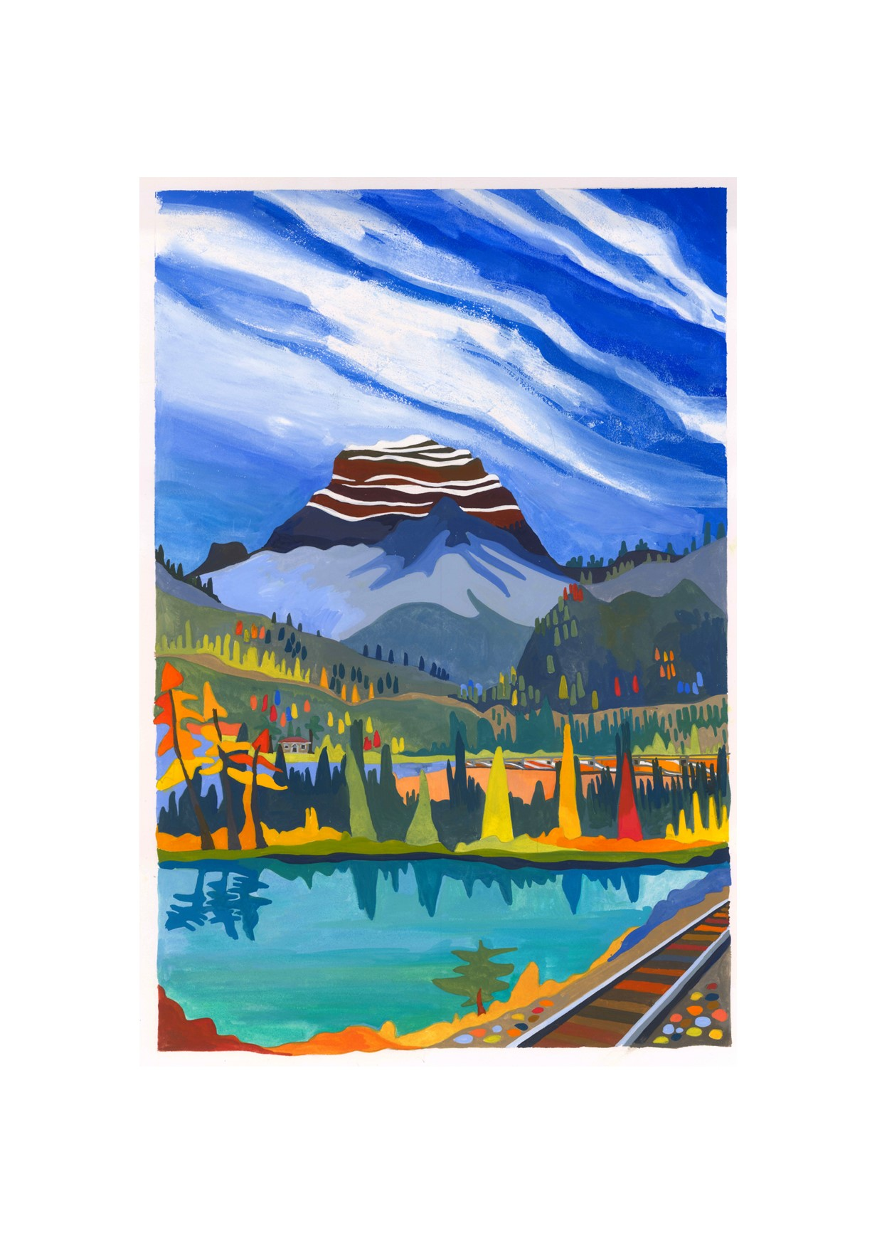 Painting of Rocky Mountaineer train
