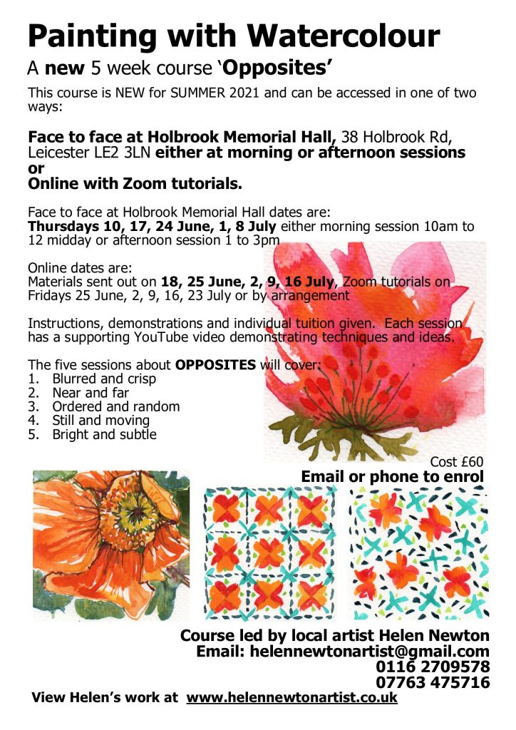 Link to PDF flier for water colour 5 week course - Opposites